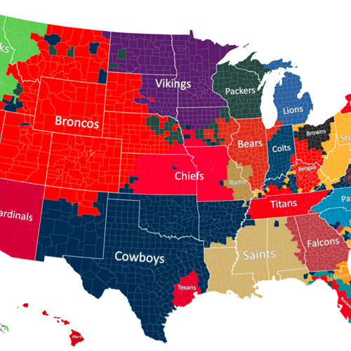 The Geography of NFL Fandom - The Atlantic on map of nfl teams in usa, map of all disney, map of favorite nfl teams, map of all mls teams, us map nfl teams, central hockey league teams, us map of baseball teams, map nfl teams by fans, map of all cfl teams, map of nfl stadiums, map of all colleges, map of all mlb, map of all saints, map of all football players, map with nfl team division, map of the nfl, map of all animals, map of nfl teams poster, map of all new england, map of nfl cities,