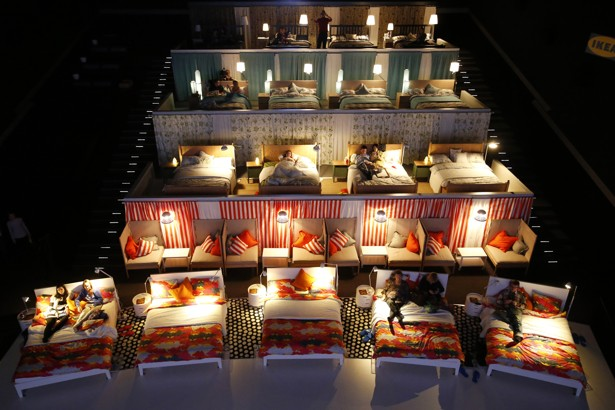 moviegoers wait for a film to start at a moscow theater in which ikea replaced the standard seating with 17 double beds sergei karpukhin reuters