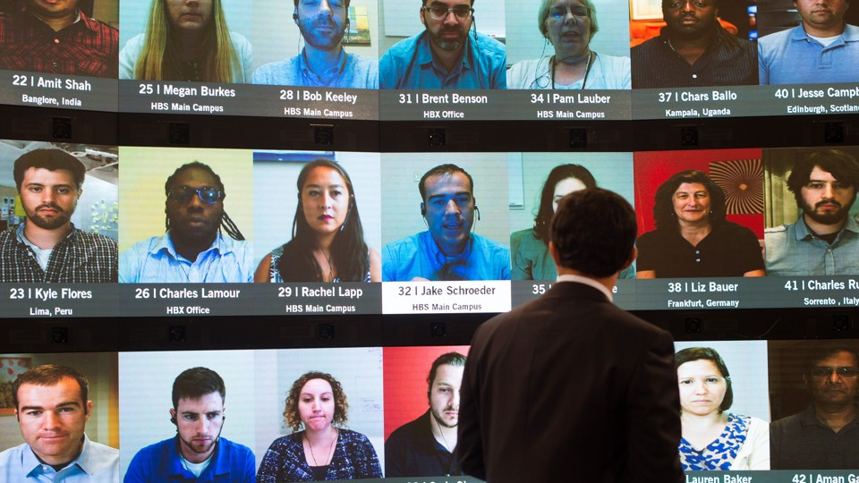 Video showing students' faces on Harvard Business School's online platform,  HBX, can help weed out cheaters. Gretchen Ertl / AP