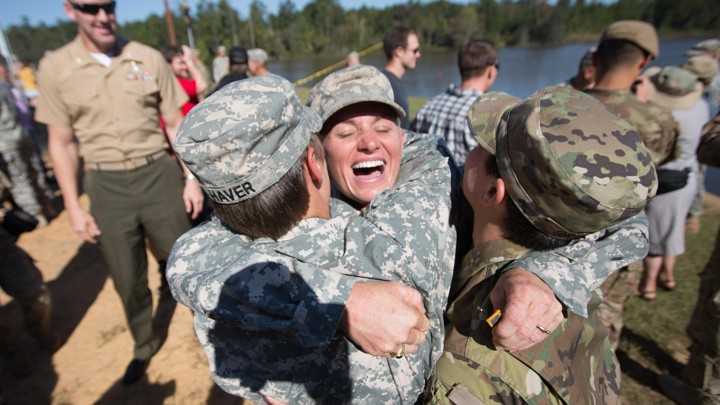 512e92032476d The nation s only female U.S. Army rangers embrace at Fort Benning