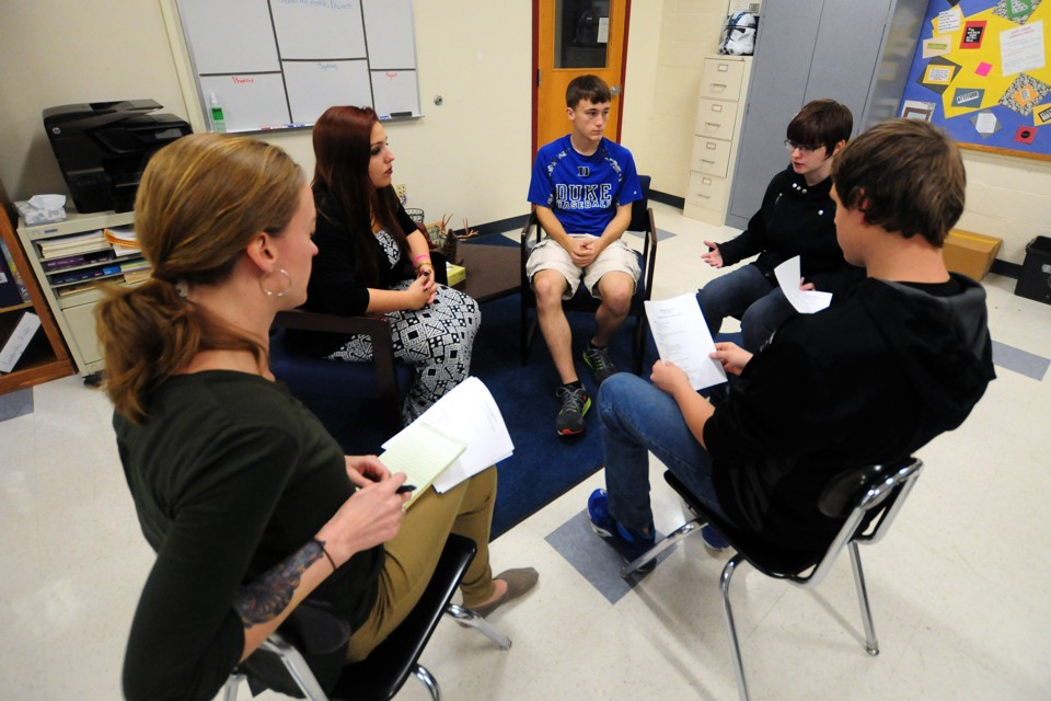 how pittsfield new hampshire s schools are practicing restorative the pittsfield middle high school english teacher jenny wellington bottom left observes a practice session of the restorative justice committee