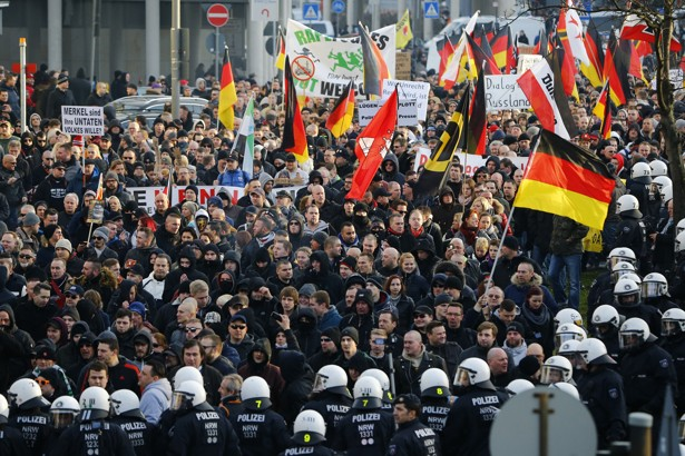 Anti-immigration protesters in Cologne, Germany. Credit: The Atlantic/Reuters
