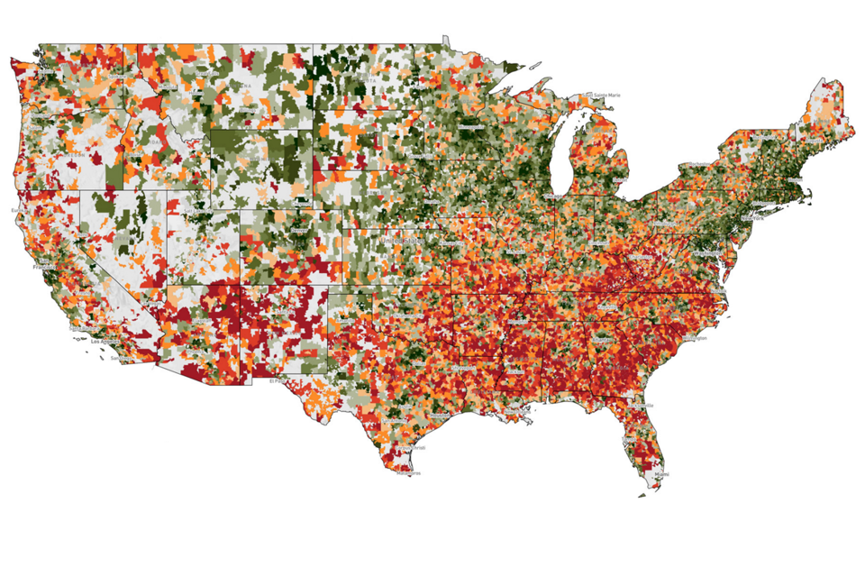 The Economic Recoverys Geographic Disparities The Atlantic - Heat map of us wealth