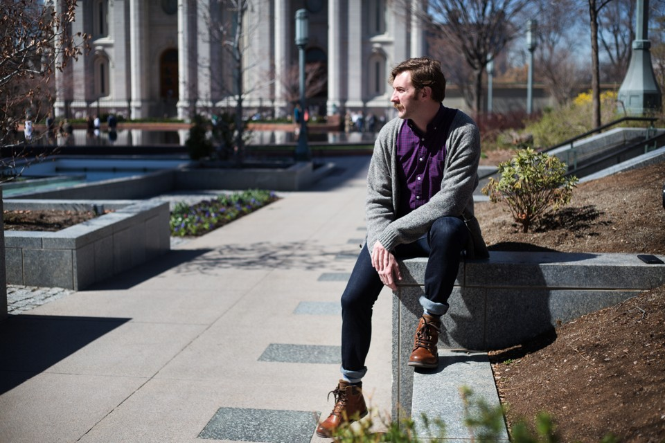 Addison Jenkins  pictured near an LDS Temple in Salt Lake City  is a student at BYU who is openly gay  Kim Raff The Atlantic