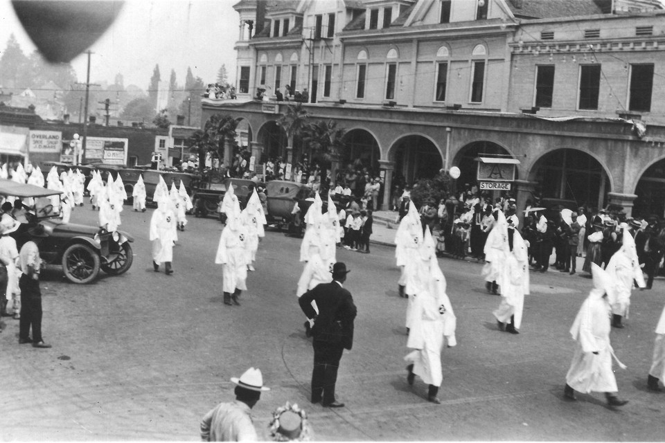 A Ku Klux Klan March in Ashland, Oregon (Date unknown; estimated to be from the 1920s) Oregon Historical Society