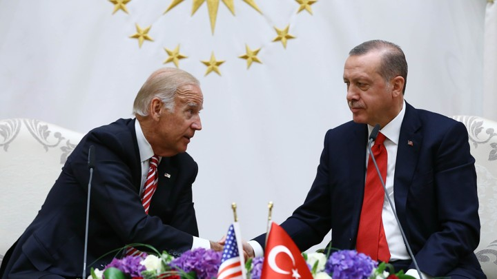 U. S. Vice President Joe Biden and Turkish President Recep Tayyip Erdogan at a meeting in Ankara, Turkey, on Wednesday.
