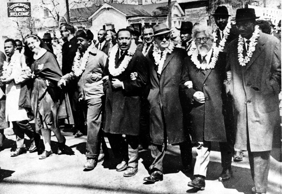 Martin Luther King Jr., Abraham Joshua Heschel, and others march in Selma, Alabama, in 1965.