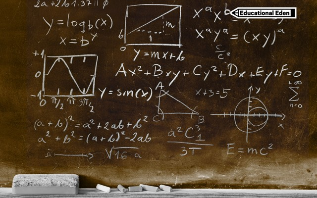 A chalkboard with various math equations and the  quot Educational Eden quot  series tag in the