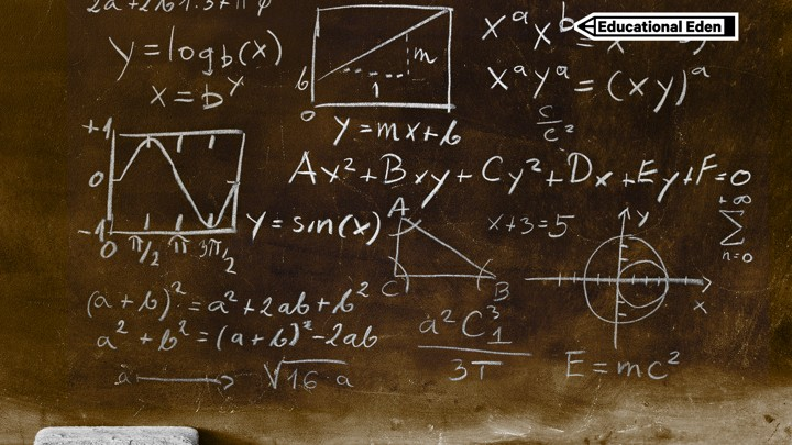 "A chalkboard with various math equations and the ""Educational Eden"" series tag in the corner"
