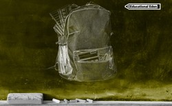 A chalkboard featuring a sketch of a backpack overflowing with notebooks, papers, and pens.