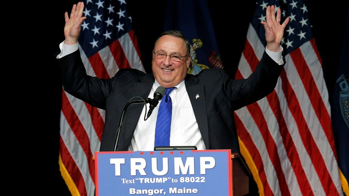Governor Paul LePage introduces Donald Trump at a rally in Bangor, Maine, in June.