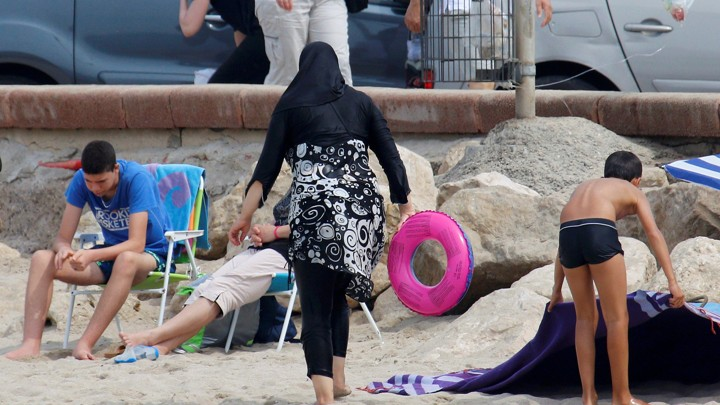 A woman wearing a burqini in Marseilles, France