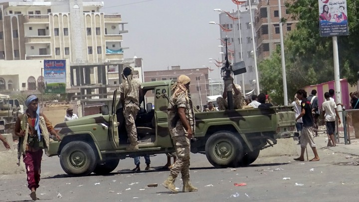 The scene on Monday attack in Aden, Yemen