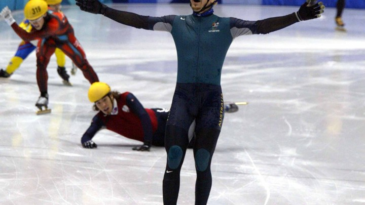 Australian speed skater Steven Bradbury does a Bradbury at the 2002 Winter Olympics.