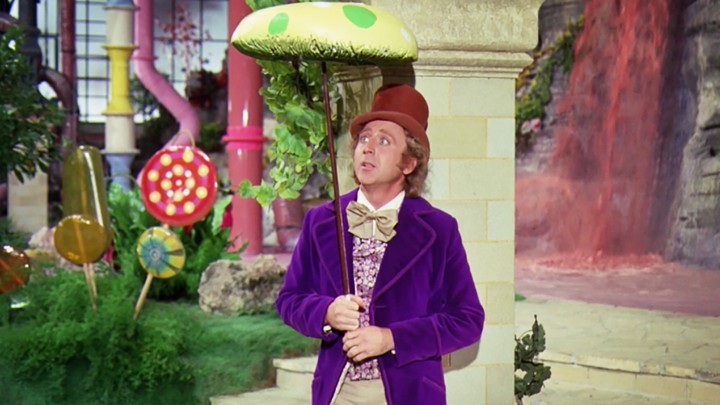 Gene Wilder, portraying Willy Wonka in the 1971 film, photographed in the Chocolate Room of his character's factory