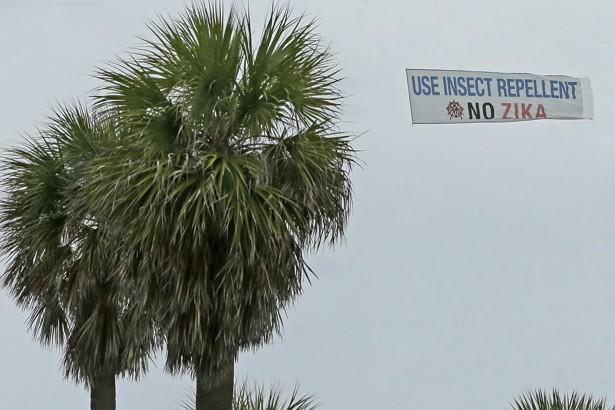 An aerial banner is flown over Miami Beach, Florida.