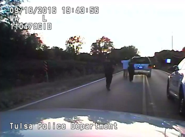 A still from the police video showing Terence Crutcher being approached by police officers in Tulsa, Oklahoma