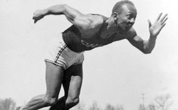 American athlete Jesse Owens practices in the Olympic Village in Berlin on August 5, 1936.