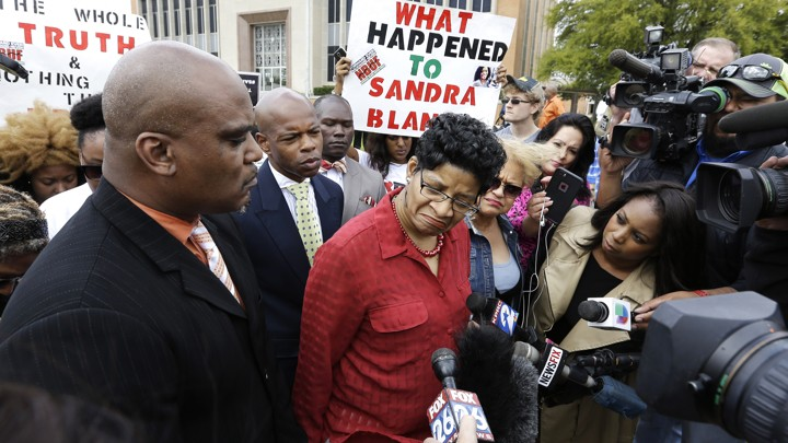 Geneva Reed-Veal, mother of Sandra Bland, arrived at the March arraignment of former Trooper Brian Encinia for perjury related to Bland's death.