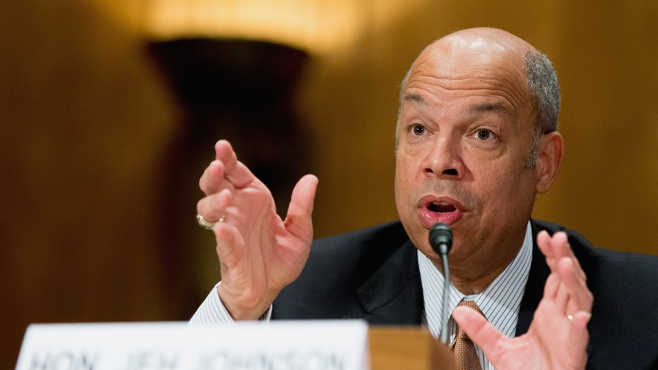 Homeland Security Secretary Jeh Johnson testifies on Capitol Hill in Washington.