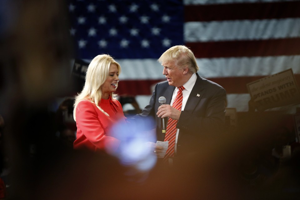 Donald Trump with Florida Attorney General Pam Bondi at a rally in Tampa, Florida, in March.