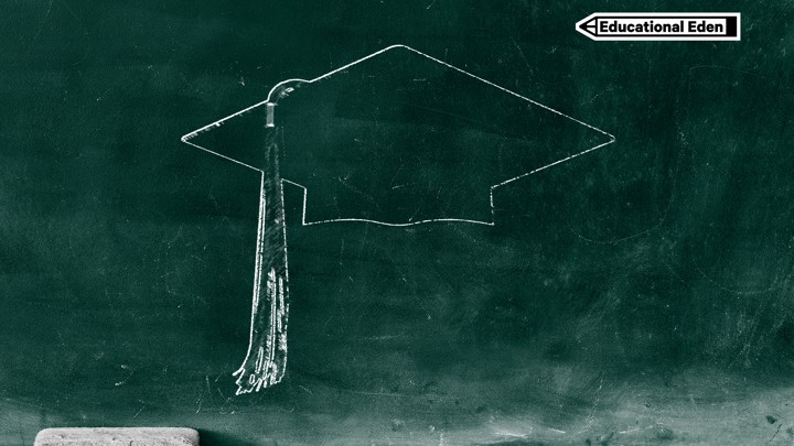 A green chalkboard with a sketched outline of a graduation cap and tassel. Pieces of chalk and an eraser are on the ledge of the chalkboard.