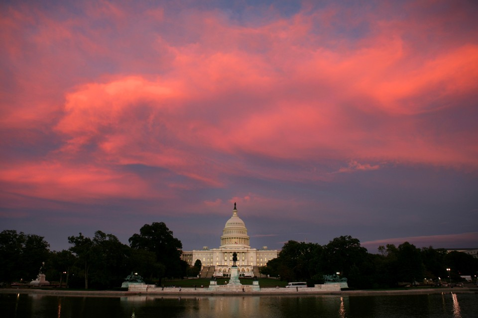 The sun sets over the U.S. Capitol Building
