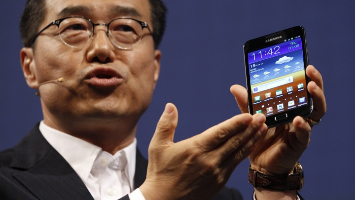 DJ Lee of Samsung presents Galaxy Note tablet PC during press day at IFA consumer electronics fair.