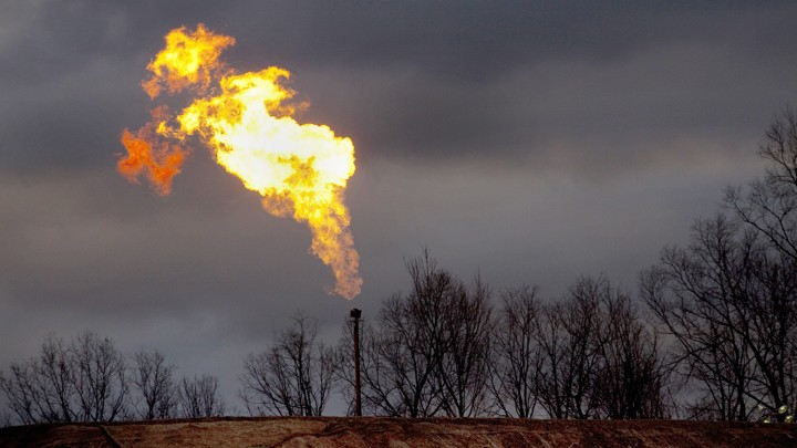A gas flare burns at a fracking site in Pennsylvania.