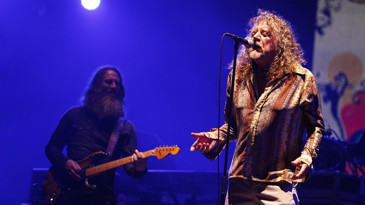 Robert Plant, lead singer of Led Zeppelin, performing at a concert in Morocco