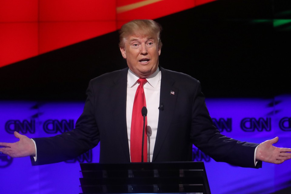 Donald Trump gestures during the first presidential debate on Monday