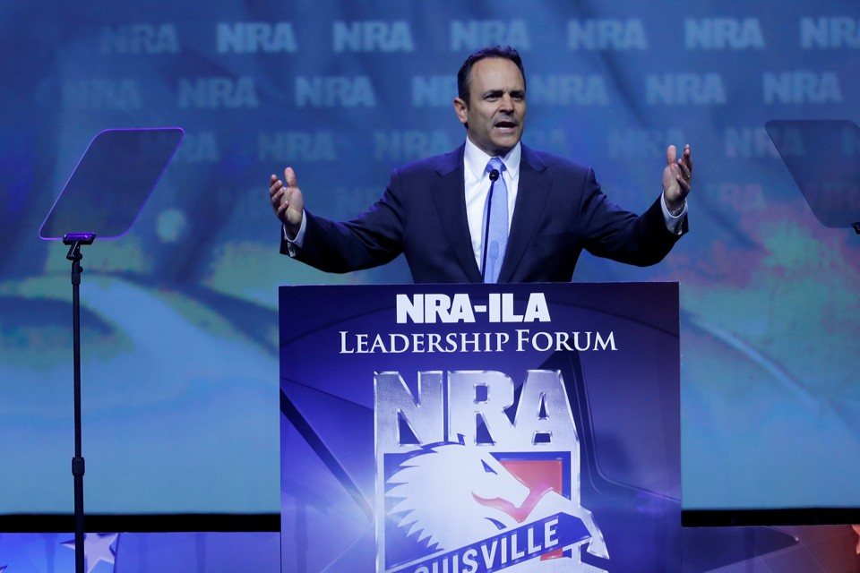 Kentucky Governor Matt Bevin speaks at the NRA-ILA Leadership Forum in May 2016.
