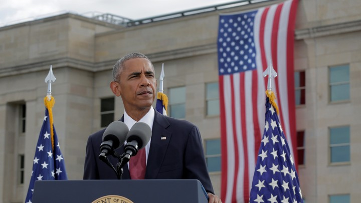 Barack Obama speaks at a 9/11 commemoration at the Pentagon.