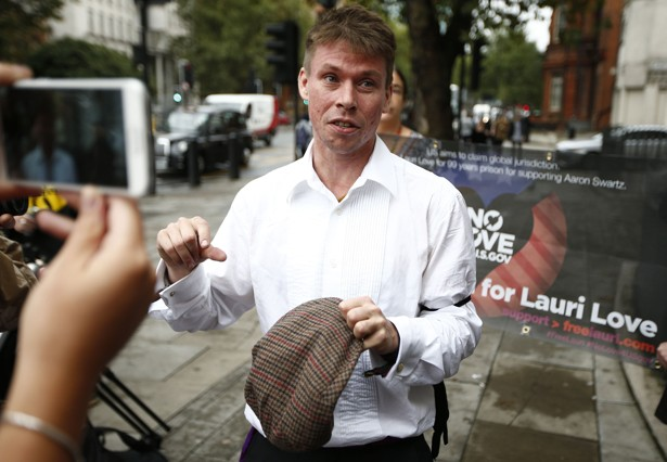 Lauri Love arrives for his extradition hearing at Westminster Magistrates' Court in London.