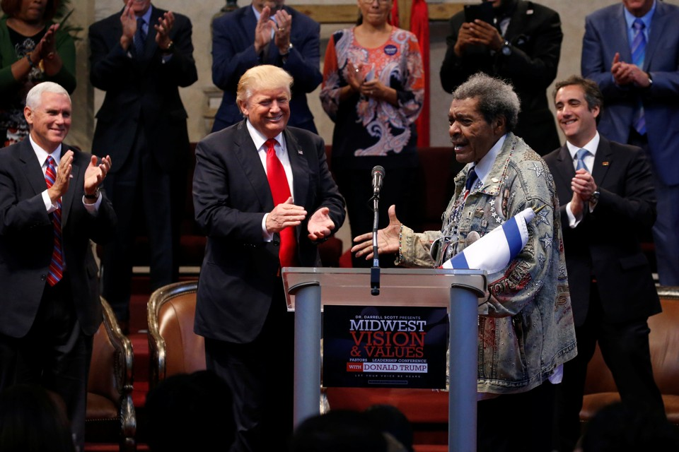 Don King introduces Donald Trump at an event in Cleveland on Wednesday.