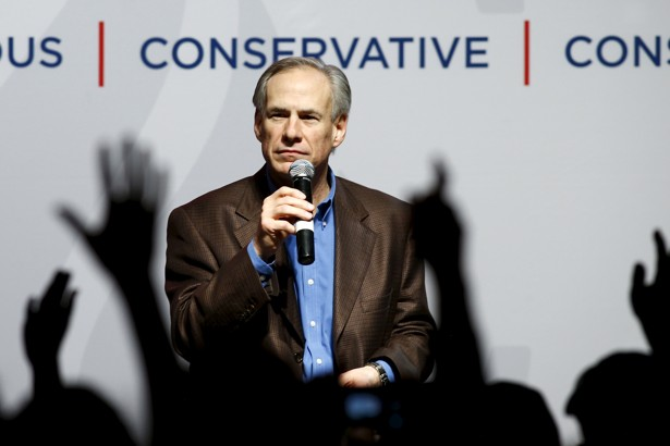 Texas Governor Greg Abbott speaks at a campaign rally for Ted Cruz in Dallas in February.
