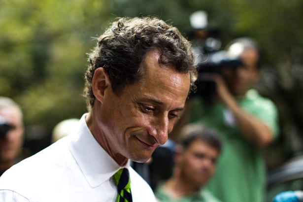 New York City Democratic mayoral candidate Anthony Weiner leaves a polling center after casting his vote during the primary election in New York September 10, 2013.