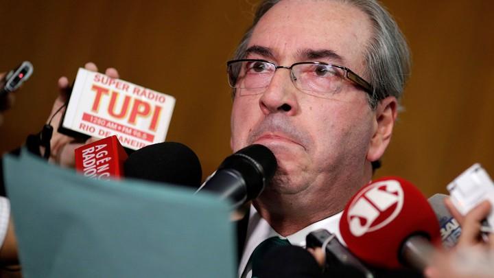 Brazilian suspended House Speaker Eduardo Cunha speaks during a news conference.