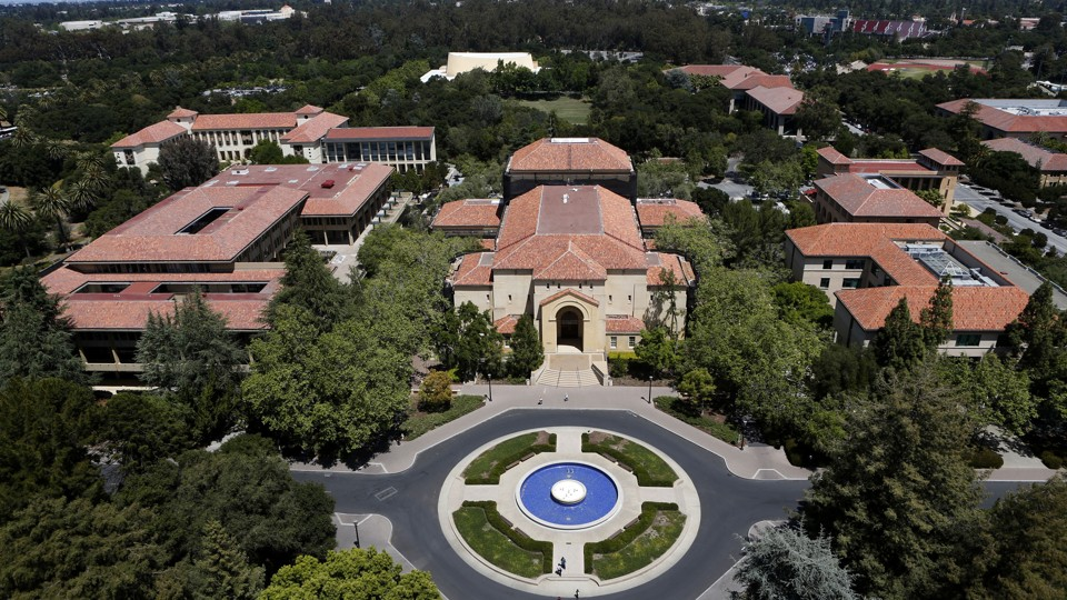 Stanford University's campus is seen from atop Hoover Tower in Stanford, California.