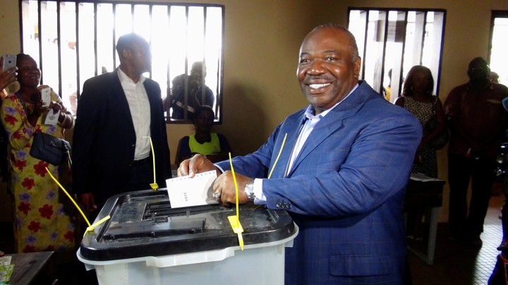 Ali Bongo, Gabon's incumbent president, votes during last month's presidential election in Libreville, Gabon.