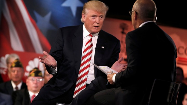 Donald Trump and Matt Lauer at Wednesday's Commander in Chief Forum