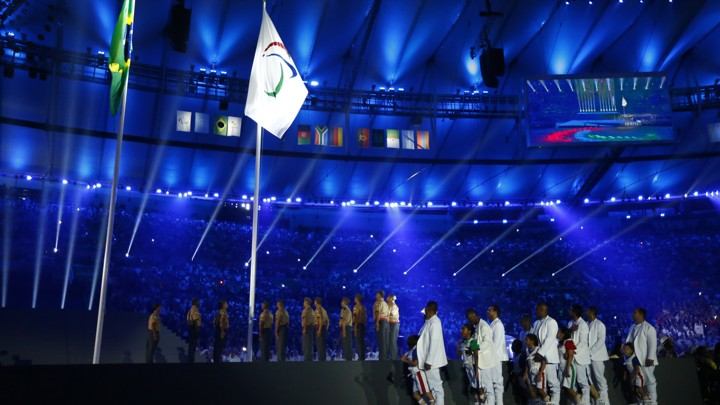 The Brazilian and Paralympic flags are raised during the opening ceremony on September 8.