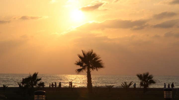 A beach at sunset in Tartus, Syria