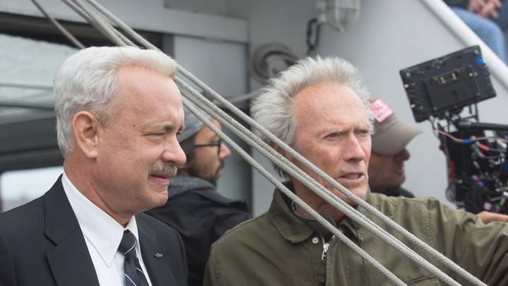 Tom Hanks and Clint Eastwood on the set of <em>Sully</em>