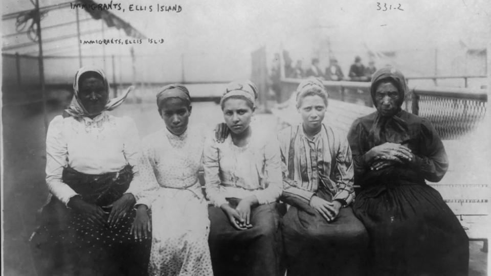 Immigrants at Ellis Island, New York, circa 1910