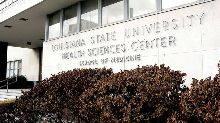The facade of the Louisiana State University Health Sciences Center, part of the school of medicine