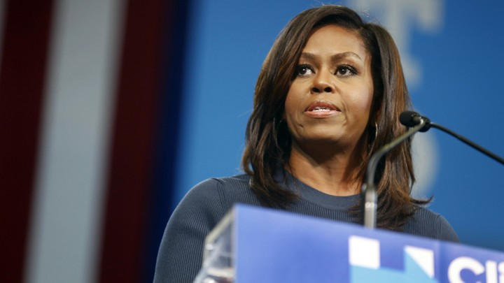 Michelle Obama speaks during a campaign rally for Hillary Clinton in Manchester, New Hampshire, on October 13, 2016.