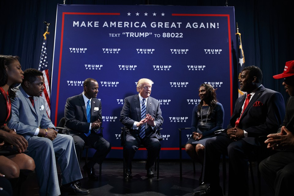 Donald Trump meets with black leaders in Charlotte, North Carolina, before an October 26 speech there.