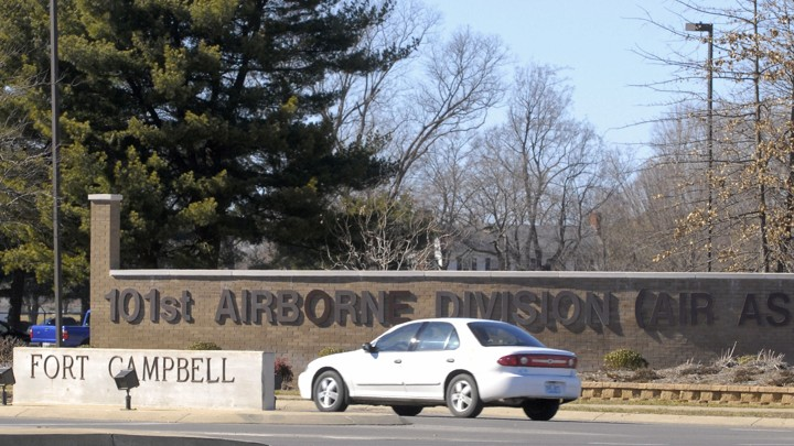 The main gate at the U.S. Army installation in Fort Campbell, Kentucky,
