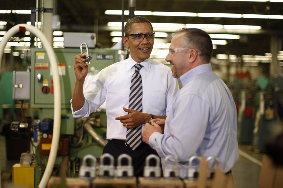 President Barack Obama at a lock-making factory